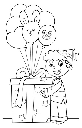 Happy boy with a very big Birthday gift and a lot of balloons. Black and white illustration. Illustration