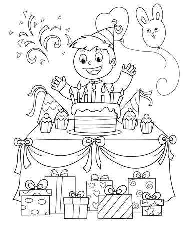 Birthday party: happy boy with cake and gifts. Black and white illustration. Vector