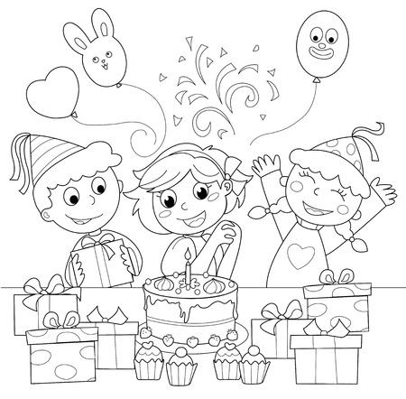 feliz cumplea�os caricatura: Fiesta de cumplea�os: ni�a feliz con torta y regalos. Ilustraci�n en blanco y negro.