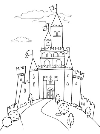 fable: Fairy tale illustration: black and white medieval castle.