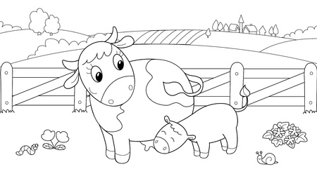 bovine: Cute cow feeding calf. Cartoon coloring illustration for children. Illustration