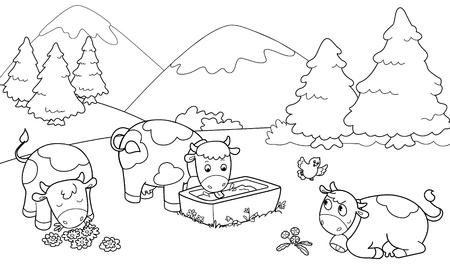 Drie schattige koeien op de bergen. Kleurplaat illustratie voor kinderen.