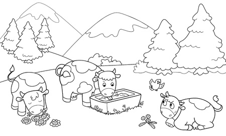 Three cute cows at the mountains. Coloring illustration for children. Vector