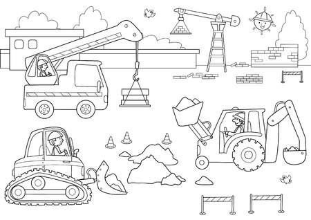 Dockyard with men and machinery at work. Coloring image for kids. Vector
