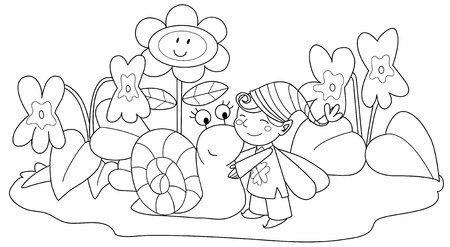 Elf with cute snail among violets and grass. Coloring illustration for children. Vector