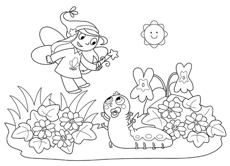 Flying fairy with wand and cute baby caterpillar. Coloring illustration for children. Vector