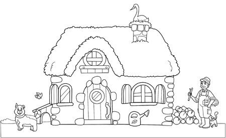 house work: Cute old farm. Coloring illustration for kids.