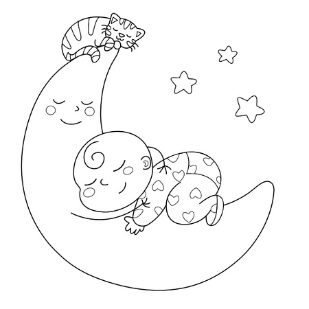 A cute baby sleeping on the moon. Black and white illustration. Vector