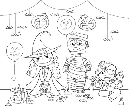 Halloween:Three children with masks: mummy, witch and pirate. Black and white illustration. Stock Vector - 10988132