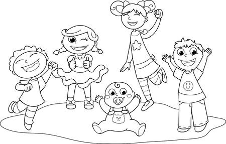 Five children exulting happily together. Coloring black and white illustration.