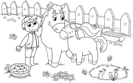 Ragazzo con cavallo carino e puledro. Illustrazione in bianco e nero.