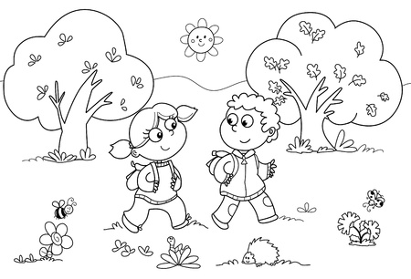 Young girl and young boy walking in a wood. Coloring cartoon illustration.