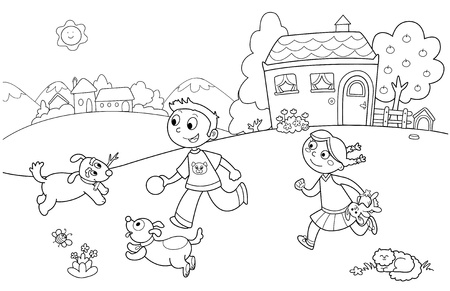 for kids: Boy and girl playing with dogs in a garden. Coloring illustration for kids.