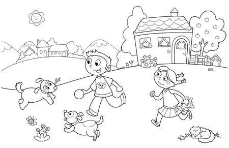 Niño y niña jugando con perros en un jardín. Colorear la ilustración para niños. Foto de archivo - 10988133