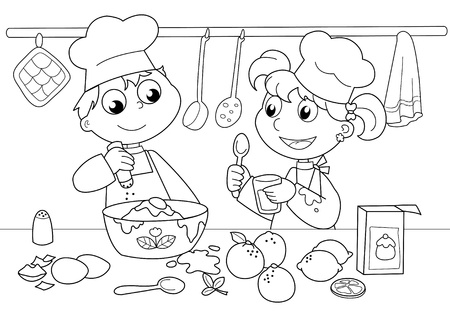 coloring:  Young boy and girl cooking. Black and white illustration.