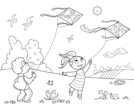 Boy and girl playing with kites. Black and white illustration.