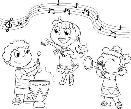 stave: Music band: children playing and singing. Black and white illustration.