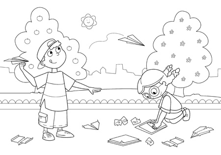 Boy and girl playing with paper airplanes. Coloring illustration for kids. Illustration