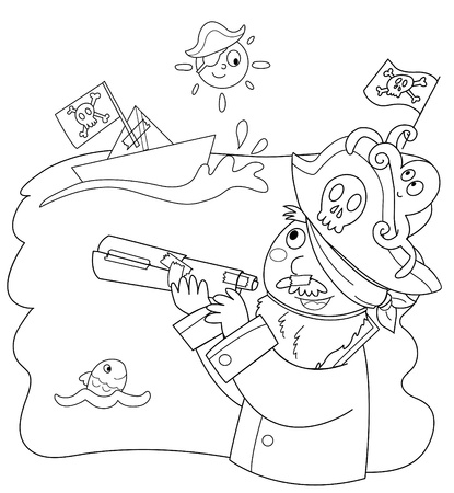 filibuster: Coloring illustration of child pretending to be a pirate. Illustration