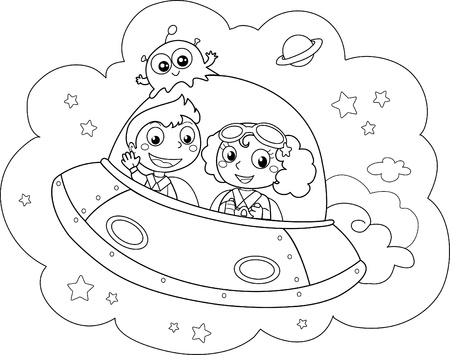 Rocket and kids during a space travel. Coloring illustration.