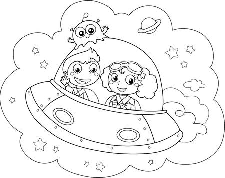 Rocket et les enfants lors d'un voyage spatial. Coloriage illustration.