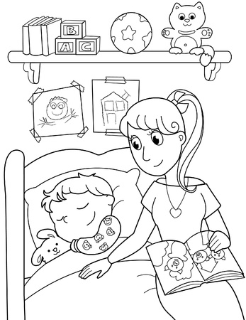 mom son: Cute child sleeping in bed with mom. Black and white illustration.