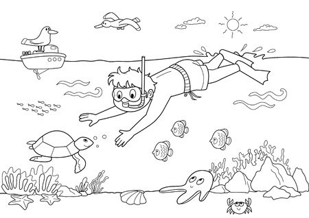 Coloring illustration for kids: child diving under water with fishes. Vector