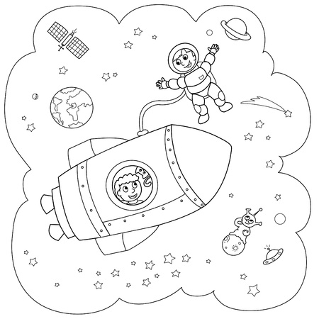 Coloring illustration of a rocket during a space travel.