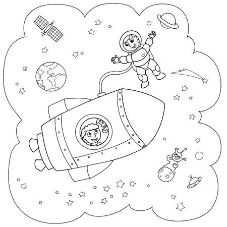 espaço: Coloring illustration of a rocket during a space travel.