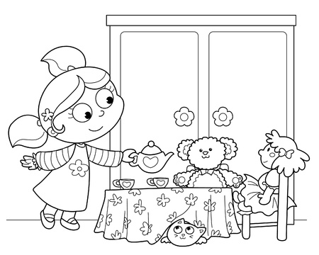 Cute young girl serving tea with dolls and teddy bear. Black and white illustration.