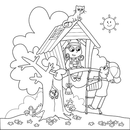 black squirrel: Children playing in tree house. Coloring cartoon illustration. Illustration