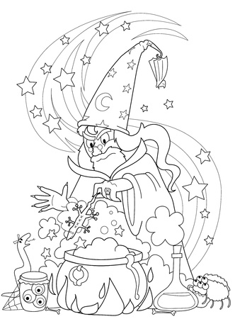 enchantment: Wizard making a magic potion in a cauldron. Vector coloring illustration Illustration