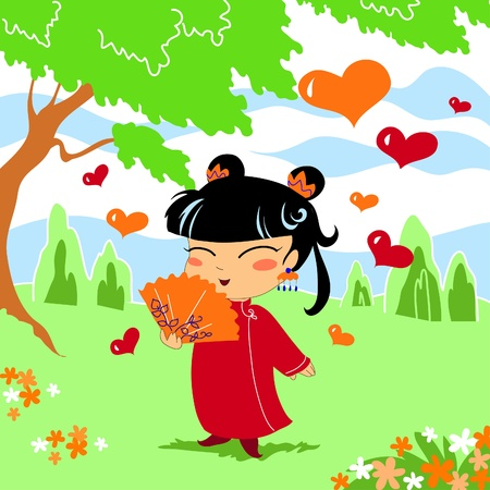 Asian young girl in love in a oriental wood Stock Vector - 10988074