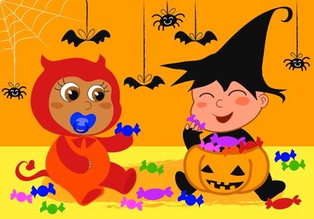 nenes jugando: Los beb�s lindo jugar en una fiesta de Halloween con caramelos.