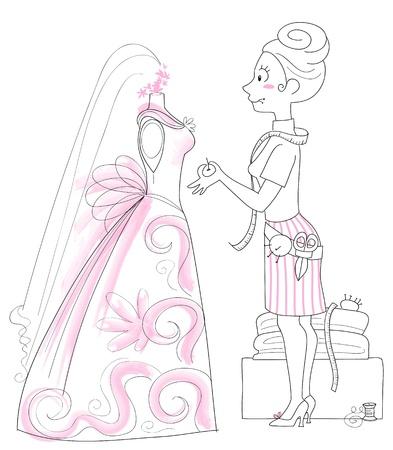 dressmaker working on the design of a wedding gown. Illustration