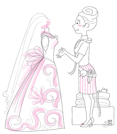 dressmaking: dressmaker working on the design of a wedding gown. Illustration