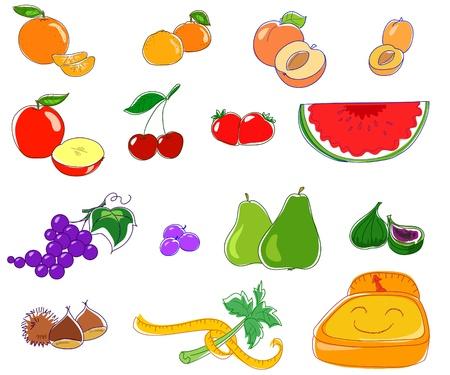 Season fruits. Good food for a good health. Vector image.