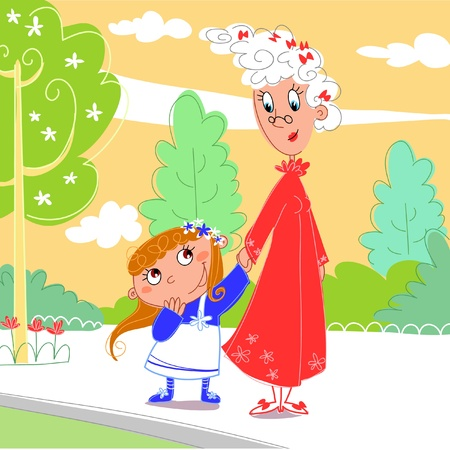 grandmother: At the park: granny with her granddaughter