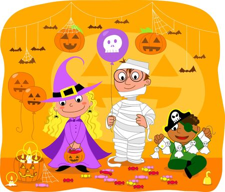 Kids at Halloween party with masks. Vector illustration. Vector