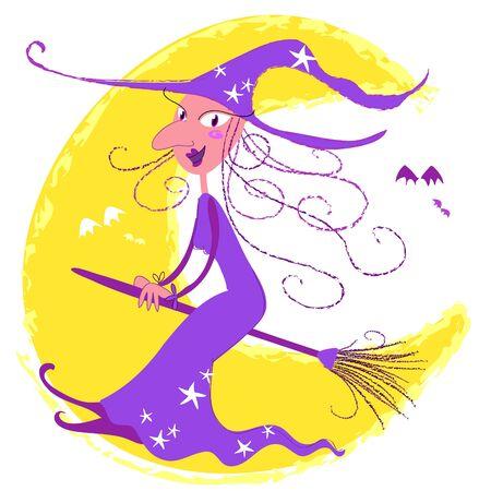 strega che vola: Halloween, streghe volanti al chiaro di luna Vettoriali