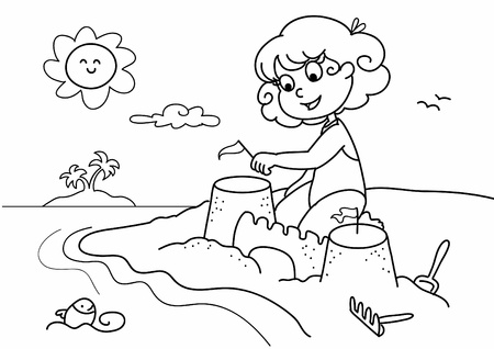 sand castle: Young girl playing with sand at the beach on holiday. Coloring vector illustration.