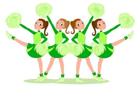 pom pom: Group of 4 cheerleaders in green. Vector illustration.