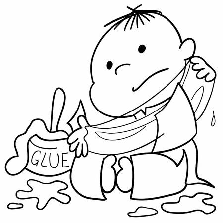 resistol: Niño chino joven que juega con papel y pegamento. Ilustración vectorial.