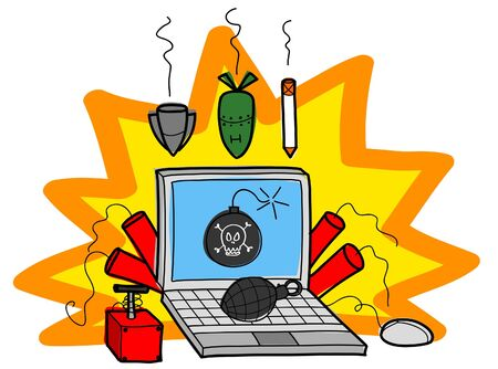email bomb: Bomb on laptop computer, Vector illustration. Illustration