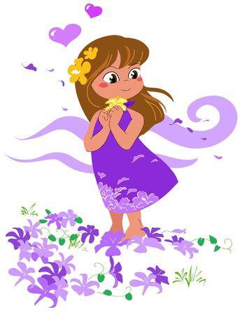 Hawaiian girl in love with flowers. Vector illustration. Stock Vector - 10988088