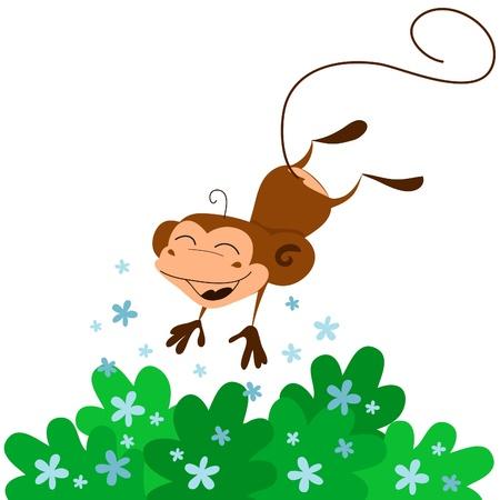 jumping monkeys: Funny cartoon monkey jumping happily. Vector illustration. Illustration
