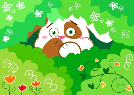 rabbit hole: Cute scared little rabbit in the forest. Vector illustration for kids. Illustration