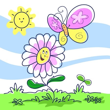 Cartoon happy daisy and a flying butterfly. Vector illustration for children. Stock Vector - 10988119