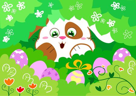Cute easter bunny finds decorated eggs. Vector cartoon illustration. Stock Vector - 10988113