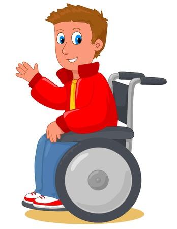 핸디캡: 그의 휠체어에 행복 한 젊은 남자. 일러스트